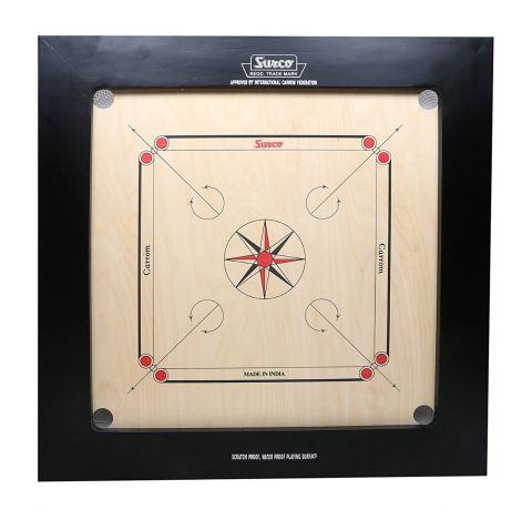 KD Surco Indian Ply Wooden Carrom Speedo Board Game with Coin, Striker and Powder (Jumbo )