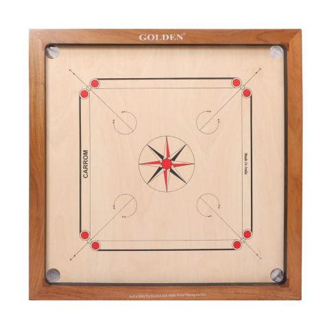 KD Golden Carrom Board Antique Indoor Board Game Approved by Carrom Federation of India & Maharashtra Carrom Association (16mm, Champion)
