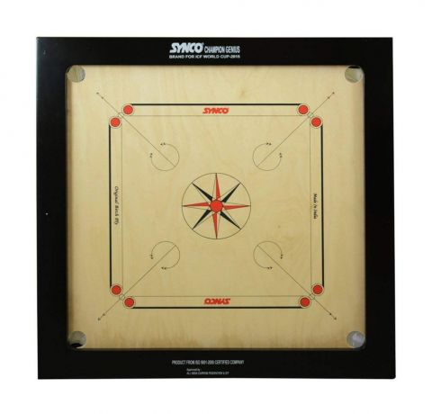 Synco Carrom Board Speedo Board Game Board  Jumbo English Ply Wood Board with Coin, Striker & Powder, AICF Approved Used in National & International Tournament( Jumbo, 32mm)